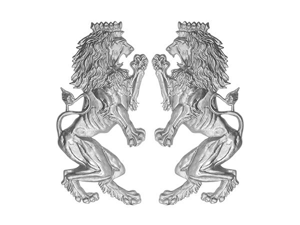 Aluminum Leo Brittanica lions pair