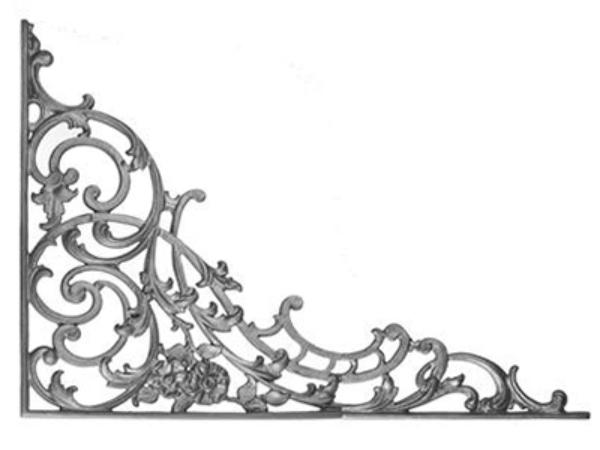 Cast iron, b.o.p. corner casting