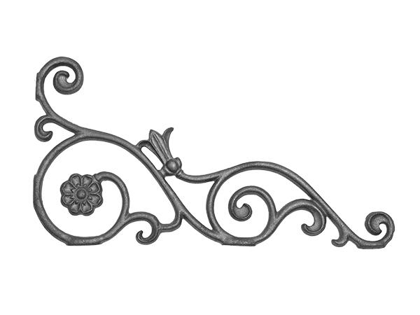 Cast iron bellflower corner casting with no flange