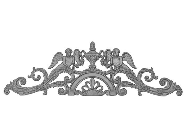 Cast iron cherub gate crown