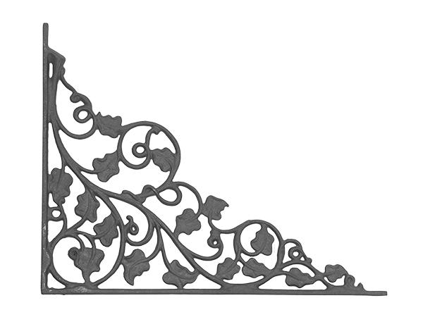 Cast iron ivy leaf corner casting flange with no holes