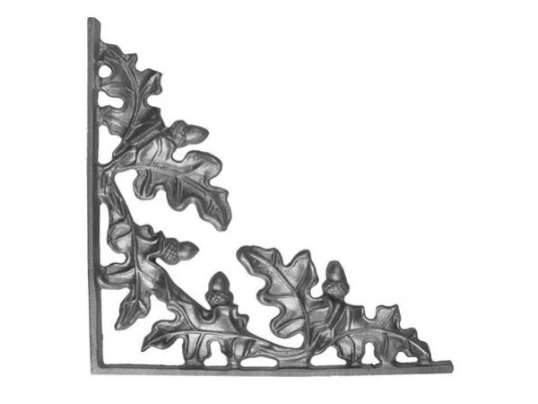 Cast iron oak corner casting with flange
