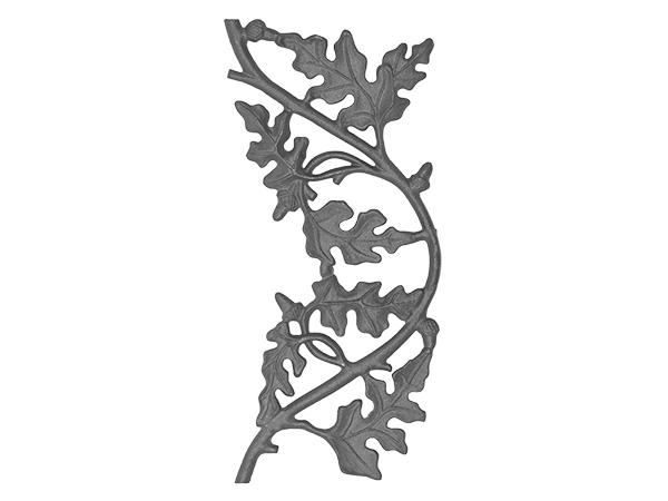 Cast iron oak railing casting, 18 x 8-inch