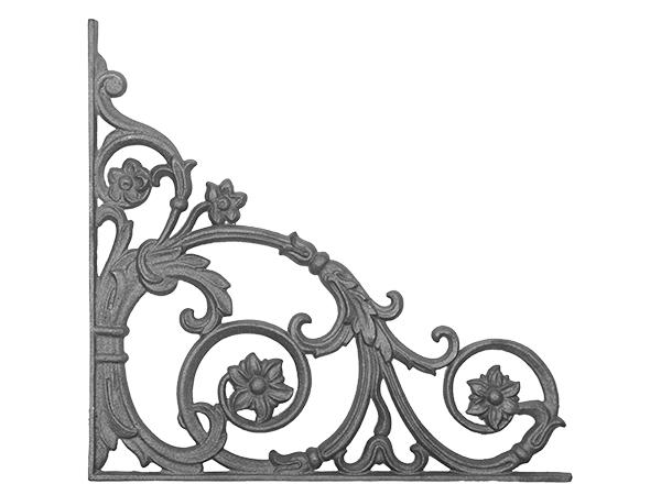 Cast iron passion flower corner casting