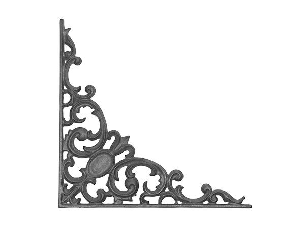 Cast iron pontalba corner casting flange, no holes.