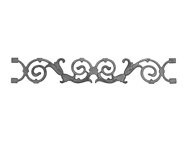 Cast iron pontalba valance, 4.125 x 25.625-inch