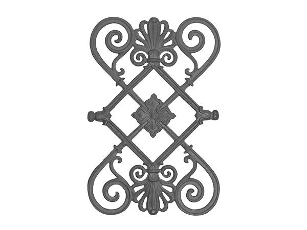 Cast iron railing casting, 13.5 x 20.25-inch
