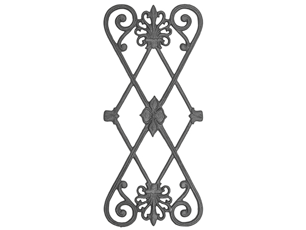 Cast iron railing casting, 22.5 x 10-inch double-faced