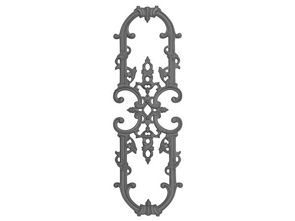Cast iron railing casting, 27 x 9-inch