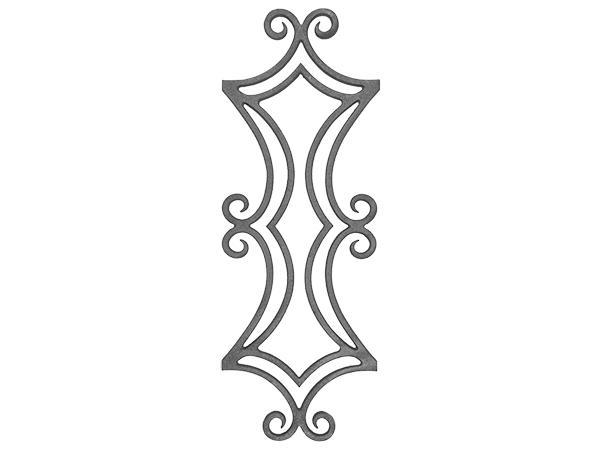 Cast iron railing casting, 34.375 x 12.5-inch
