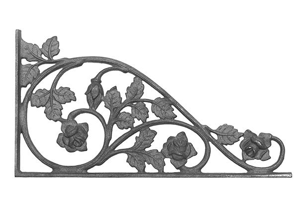 Cast iron rose corner casting with flange
