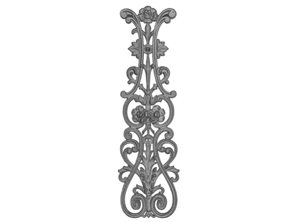 Cast iron rose railing casting double face, 28.5x8.25-inch