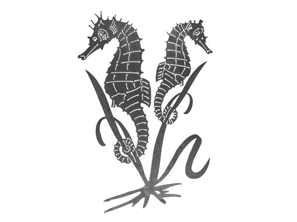 Plasma cut sign of seahorses