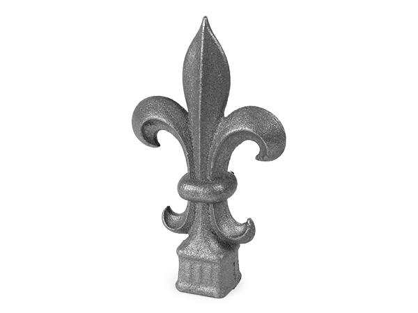 Cast iron 1-inch, square fleur de lis finial.