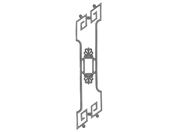 Cast iron 31.5 x 6.75, stair pitch railing casting