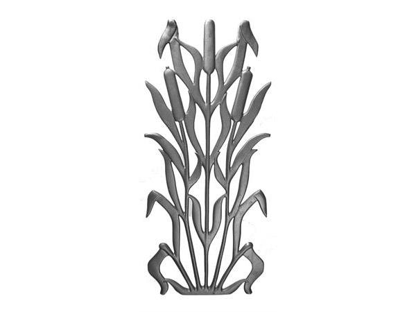 Cast iron cattail railing panel, 28x12-inch
