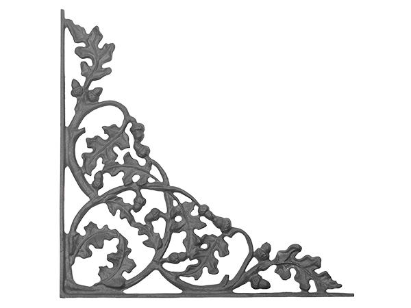 Cast iron curly oak corner casting one piece