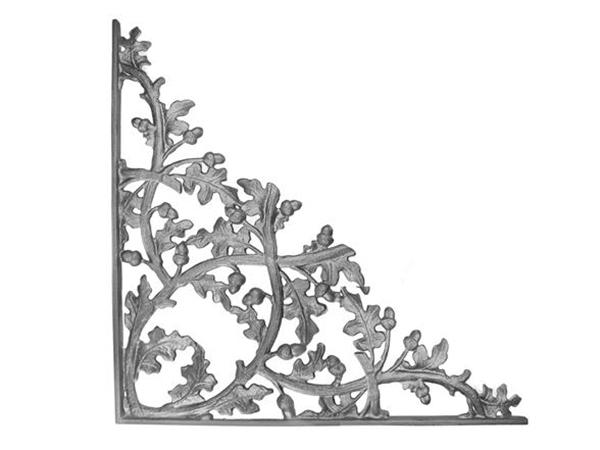 Cast iron curly oak corner casting
