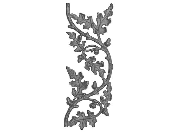 Cast iron curly oak railing panel continuous