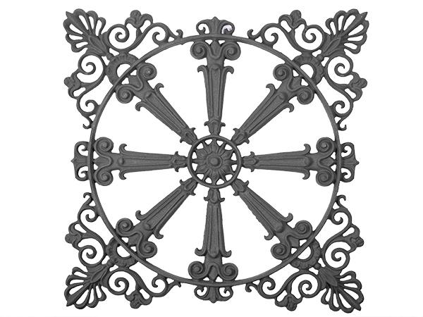 Cast iron large plaque, 21x21-inch