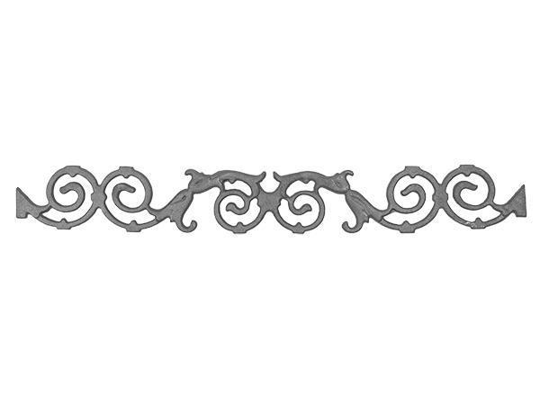 Cast iron pontalba valance, 4.125 x 31.375-inch