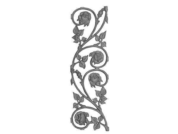 Cast iron rose railing panel double face