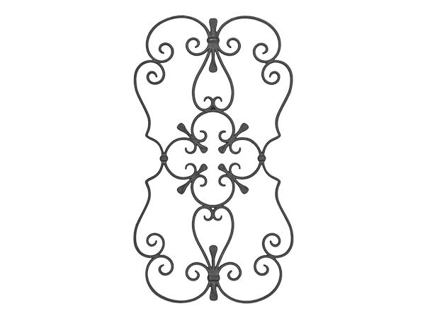 Cast iron scroll rosette panel