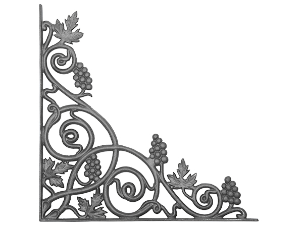 Cast iron vineyard corner casting one piece flange