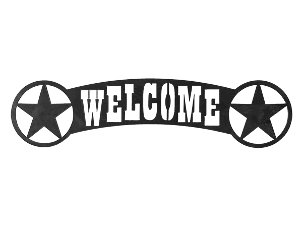 Plasma cut welcome sign with star.