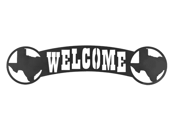Plasma cut of welcome sign on Texas
